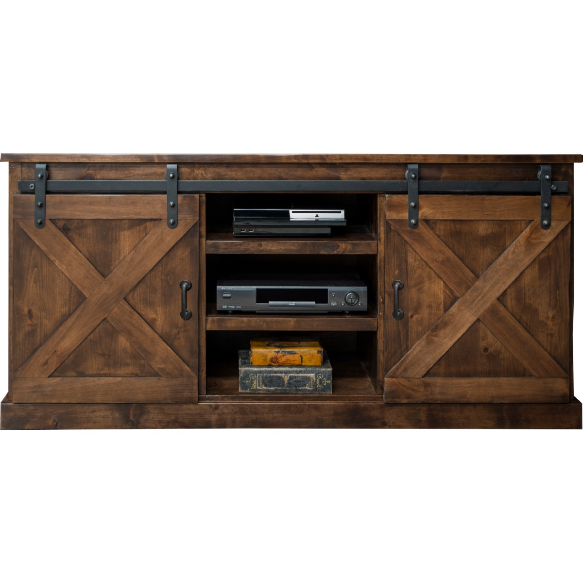 legends furniture fh farmhouse  tv stand console in  - farmhouse  tv stand console in distressed aged whiskey w sliding barndoors