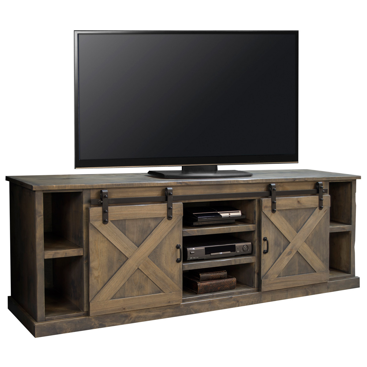 "Legends Furniture FH1425 Farmhouse 85"" TV Stand Console in Distressed Barnwood w Sliding Barn Doors"