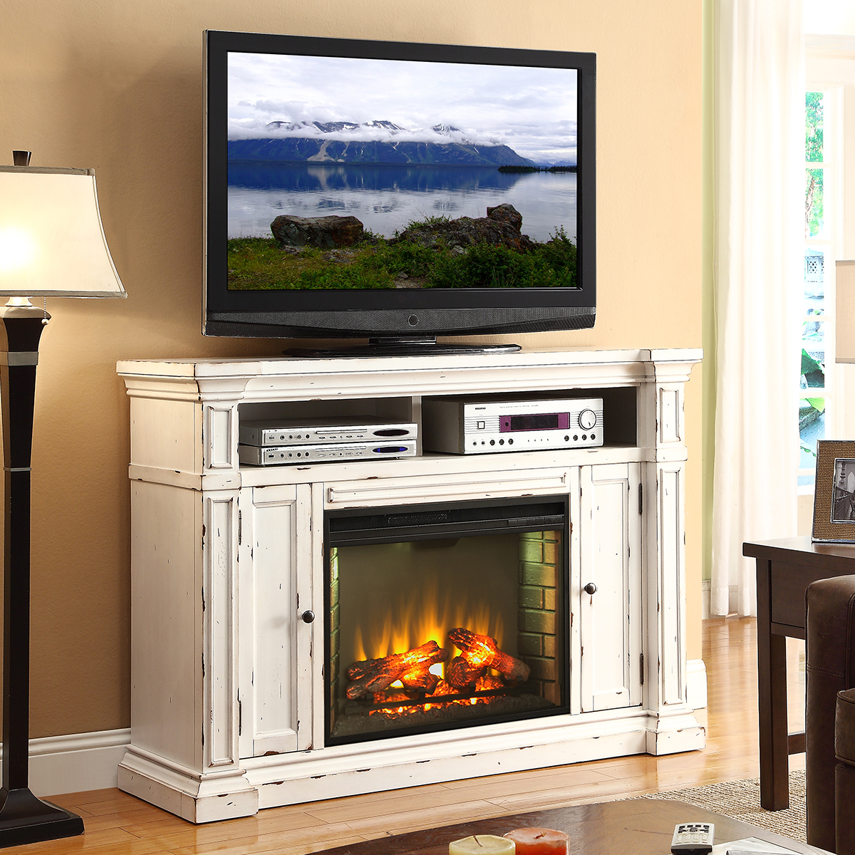 New Castle 58 Fireplace Media Center Tv Stand Mantel In Distressed White By Legends Furniture