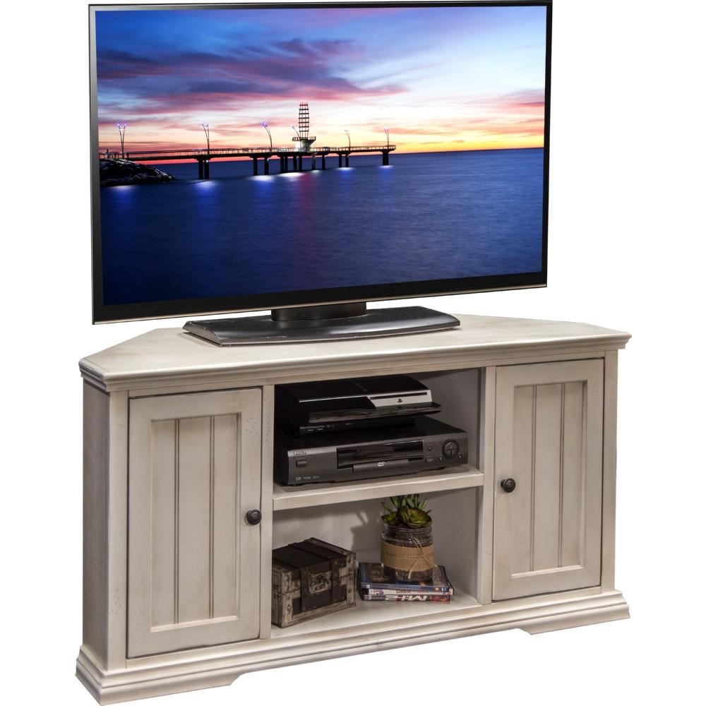 legends furniture riverton 50 corner tv stand in distressed antique white - White Distressed Tv Stands