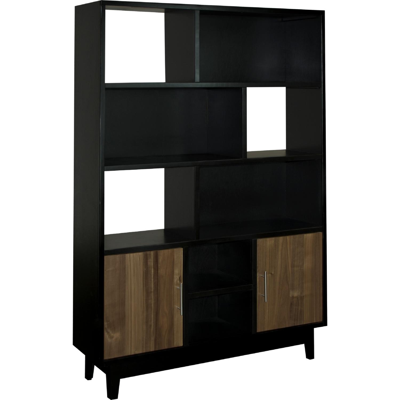 Sterling 48 Wide Bookcase In Black W Maple Doors