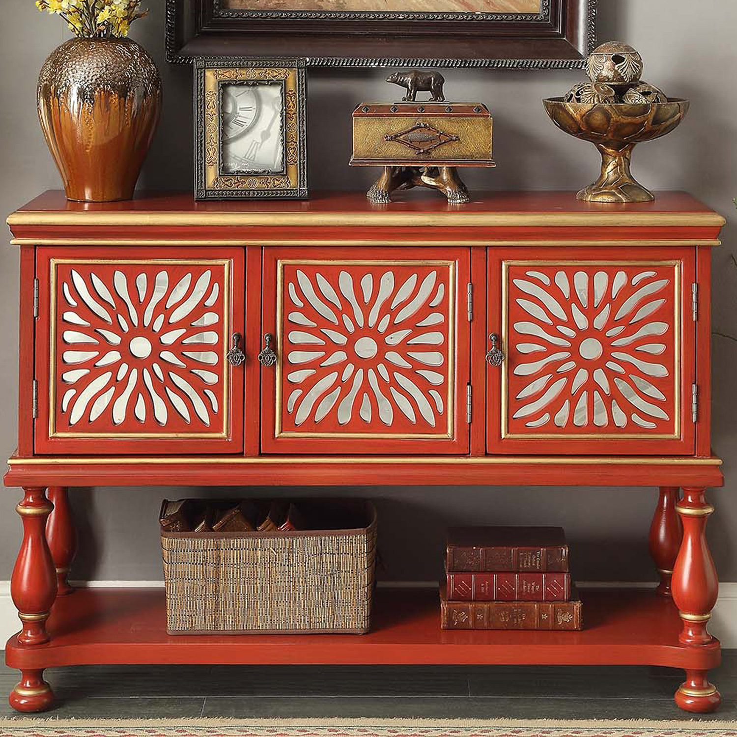 Red Console Table legends furniture zacc-9155 rosie red console table w/ 3 doors