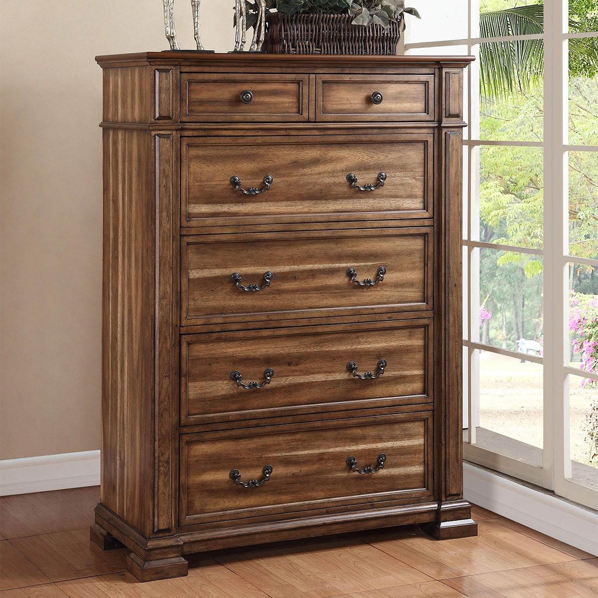 Legends furniture zbcl 7016 barclay chest of drawers in distressed rustic acacia w iron work accents
