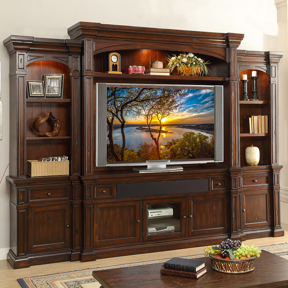 berkshire 6 piece wall unit in distressed umber finish