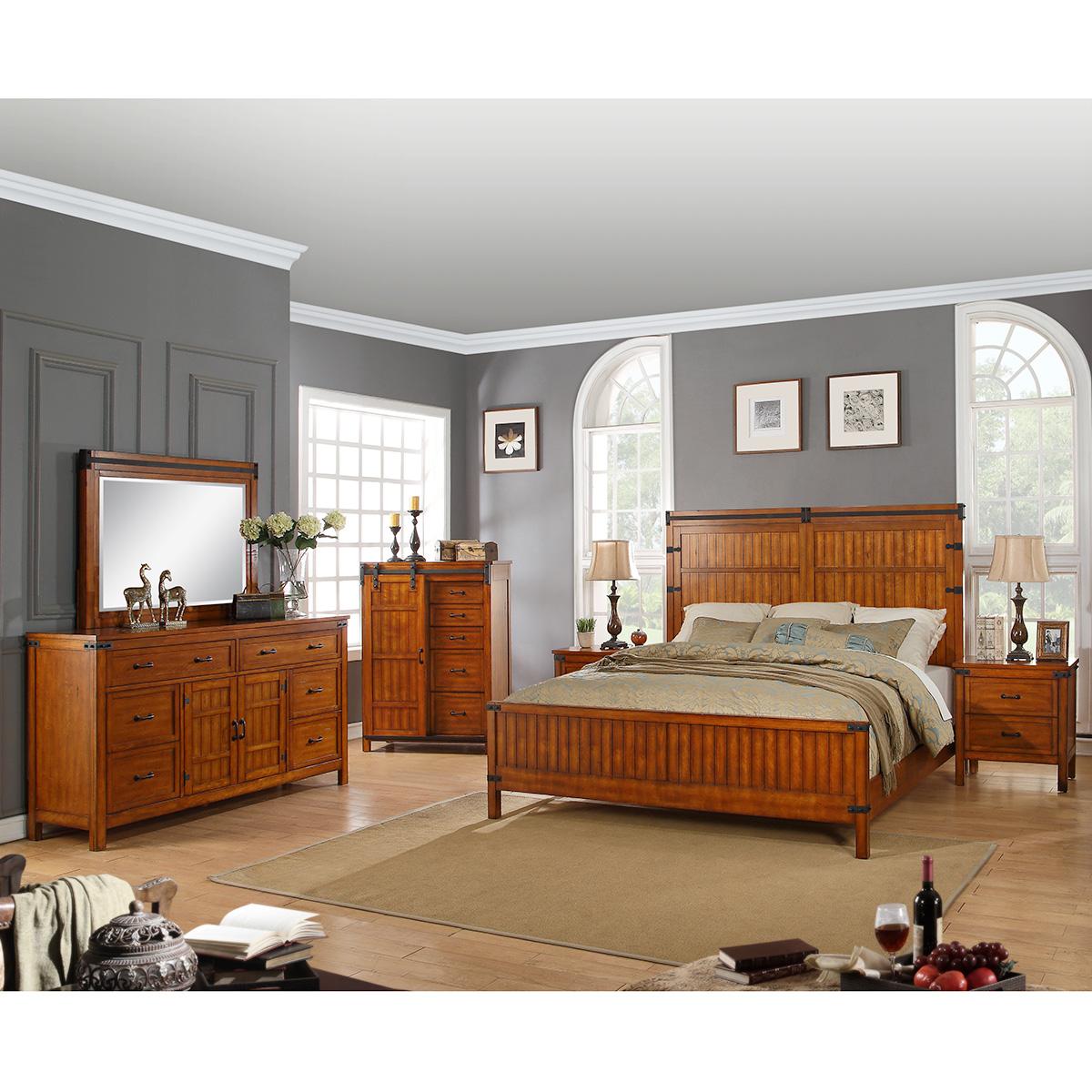 Industrial 6 Piece Queen Bedroom Set in Rustic Chestnut Finish Hardwood
