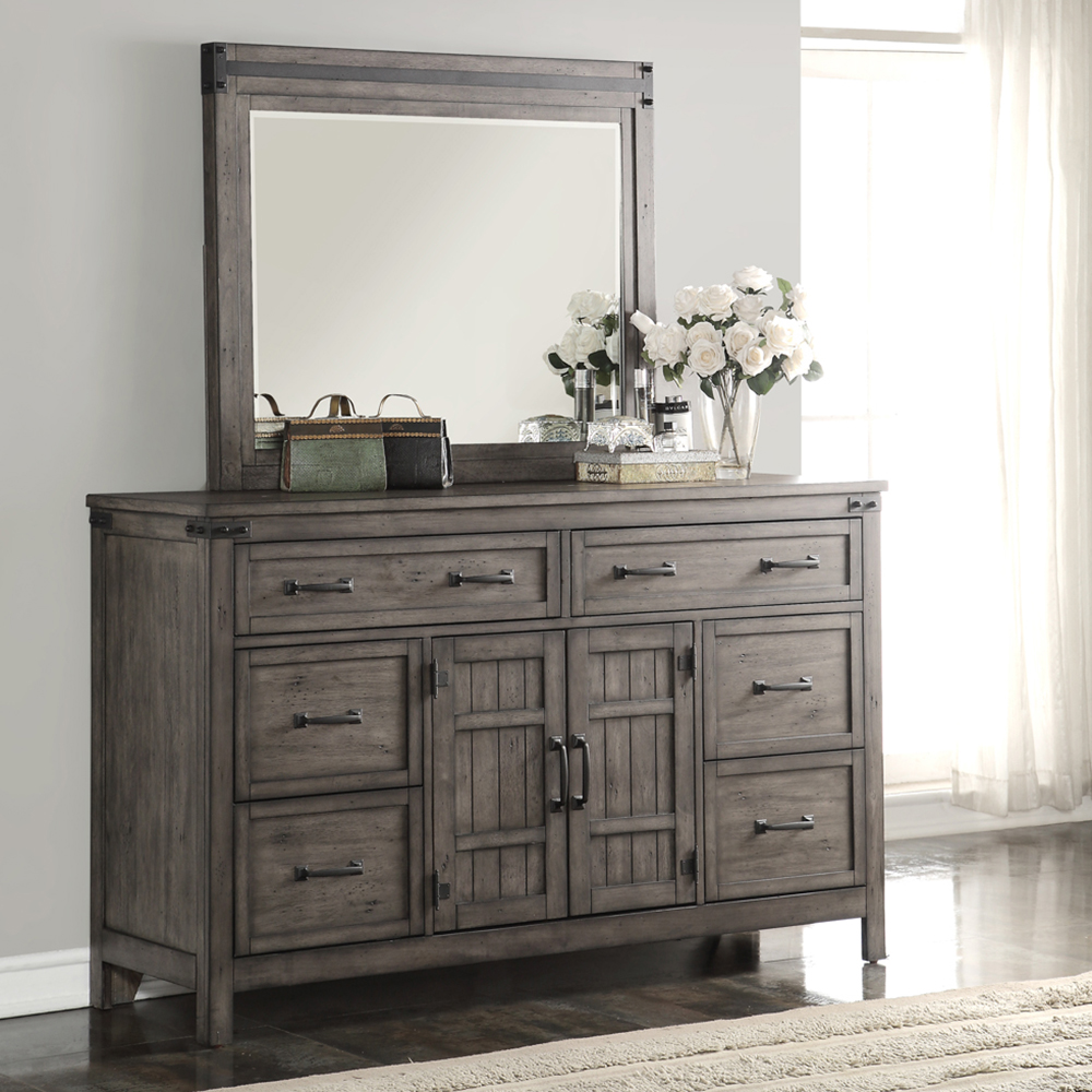 Legends furniture zstr 7014 storehouse mirror in distressed smoked grey w iron hardware trim