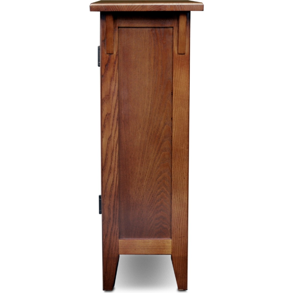 mission foyer cabinet hall stand w adjustable shelf in russet