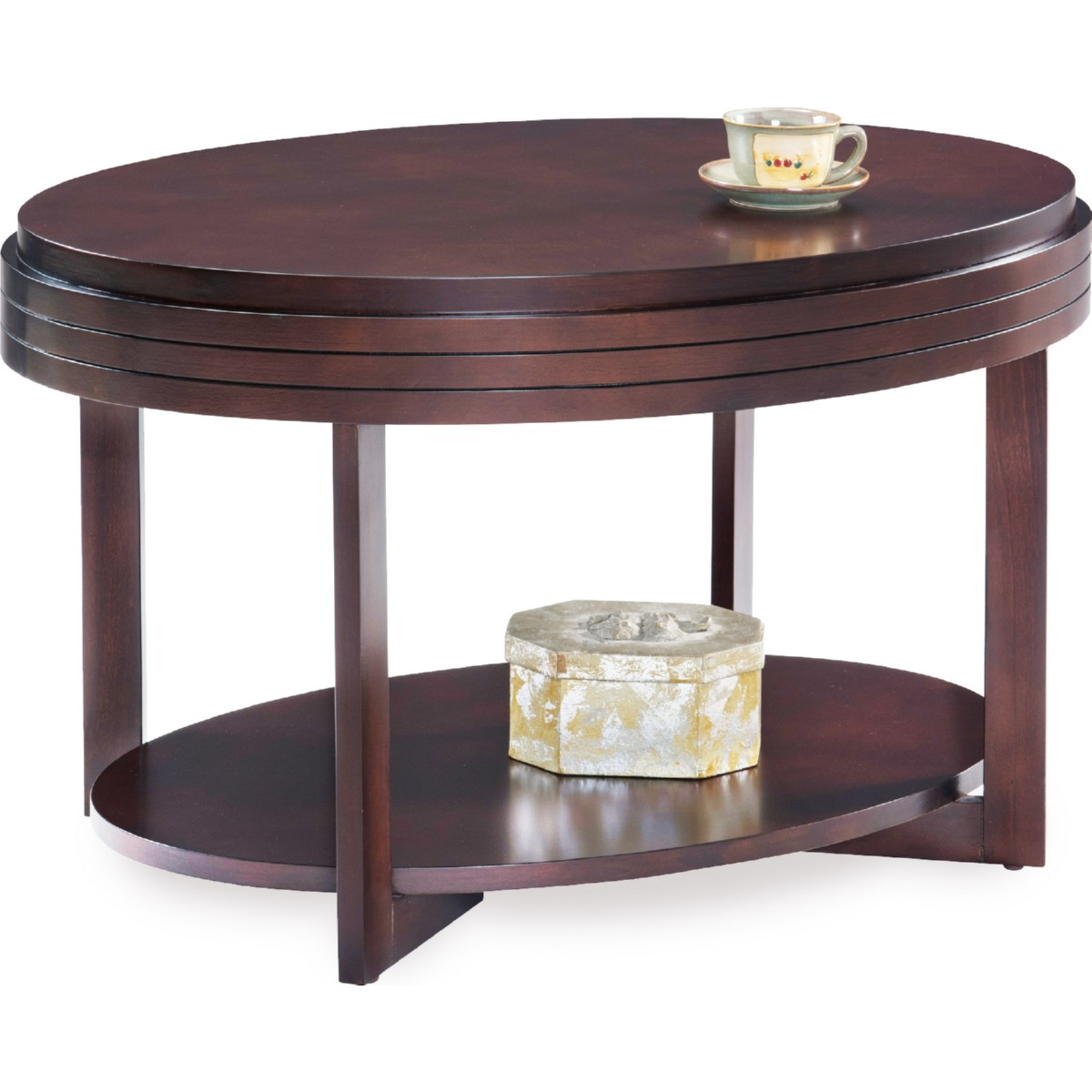 leick furniture oval small coffee table in chocolate cherry finish w diamond match top - Leick Furniture