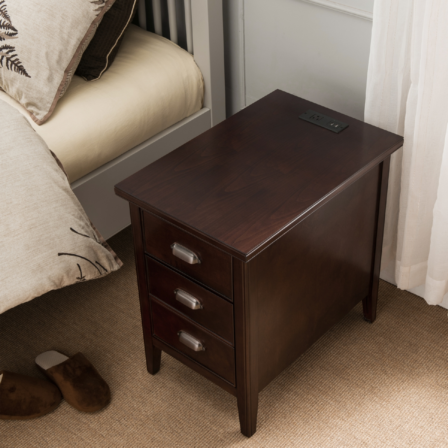 laurent cabinet end table w drawer door u0026 2 plug outlet in chocolate cherry