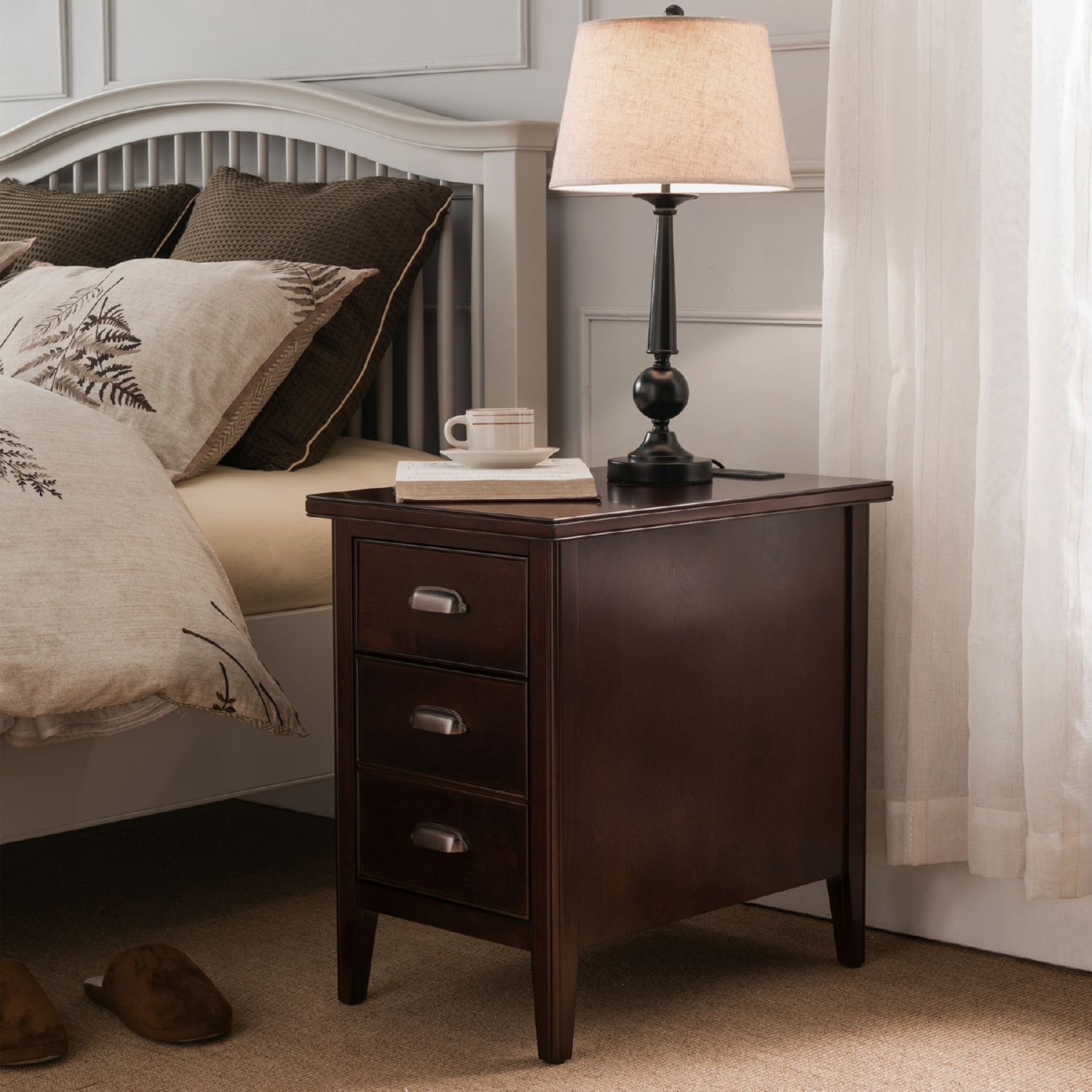 laurent cabinet end table w drawer door u0026 2 plug outlet in chocolate cherry - Leick Furniture