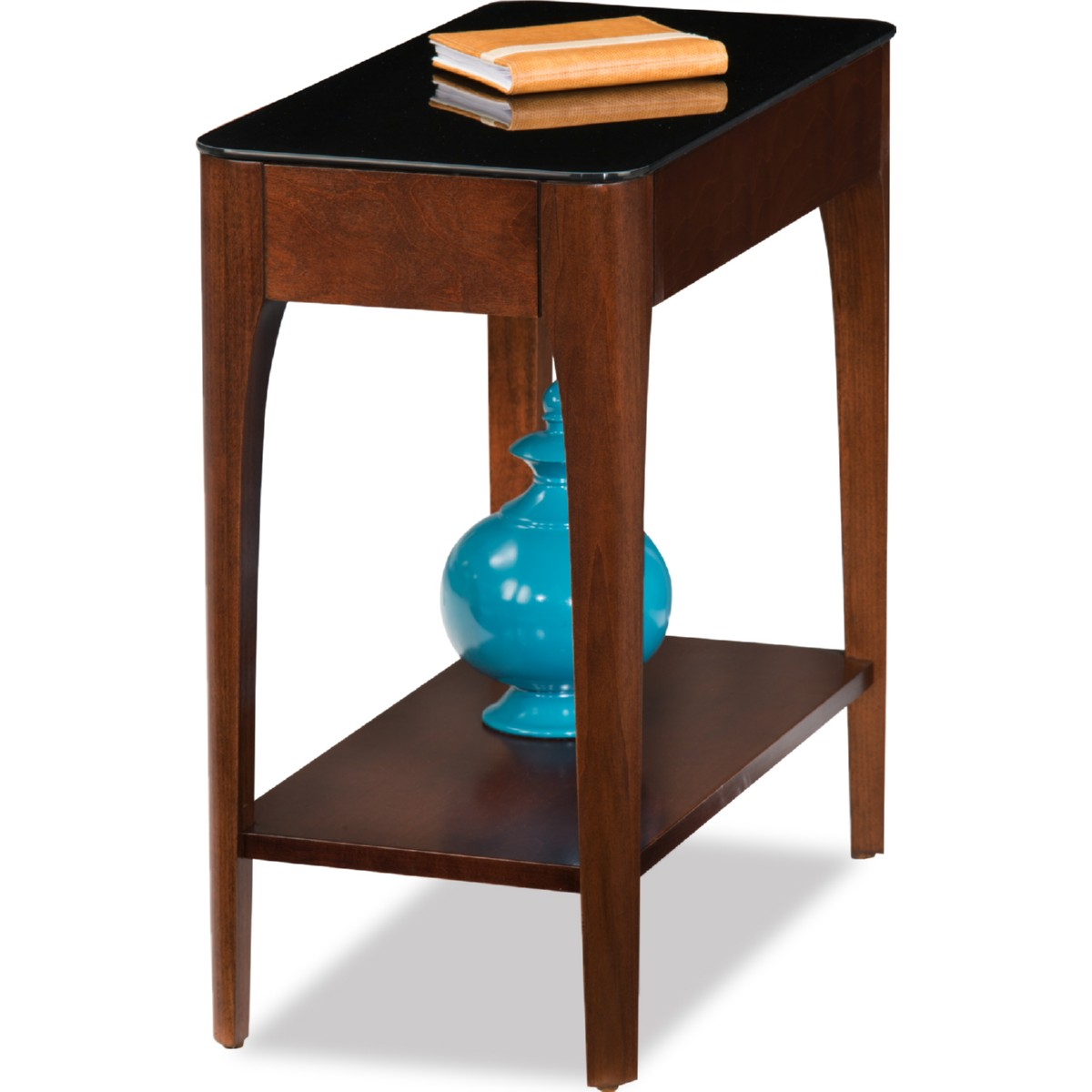 Black Glass Coffee Table Amazon: Leick 11105 Obsidian Narrow Chairside Table In Chestnut
