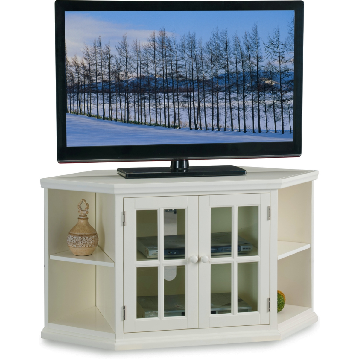 White 46 Corner Tv Stand W Bookcases By Leick Furniture