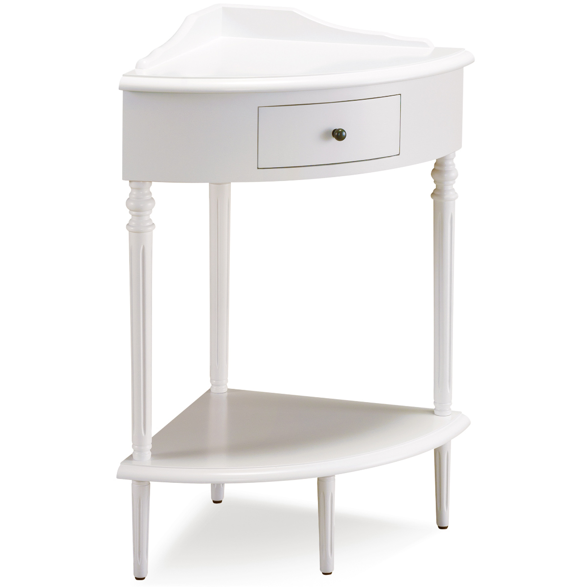 - Leick 9016-WT Cottage White Corner Stand Accent Table