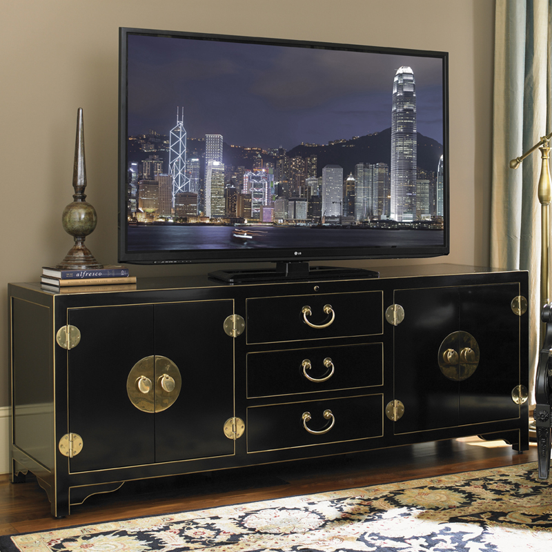 Studio Designs Pacific Isle 75 Asian Style Tv Stand Entertainment Console In Black By Sligh