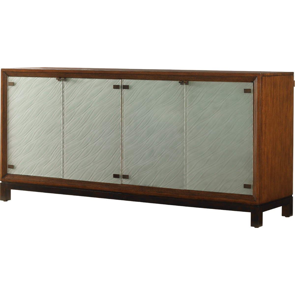 Tommy bahama home 536 852 sea glass buffet w etched sea for Sideboard glasfront