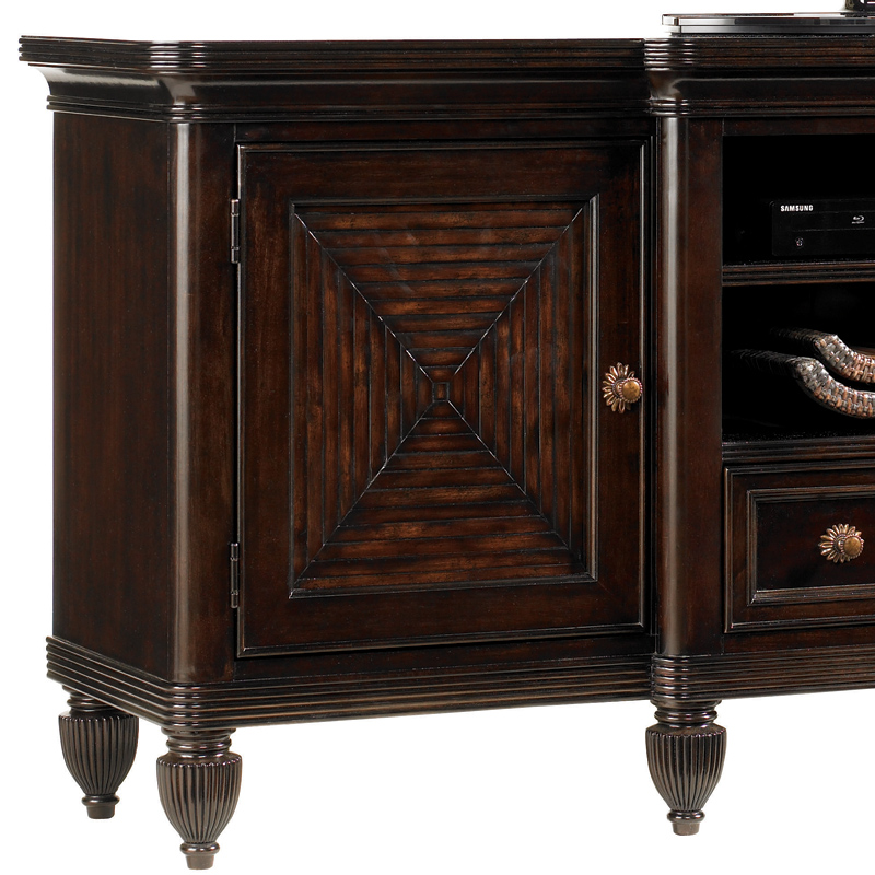 Maui 70 Tv Stand Entertainment Console In Ribbon Stripe Mahogany By Tommy Bahama Home