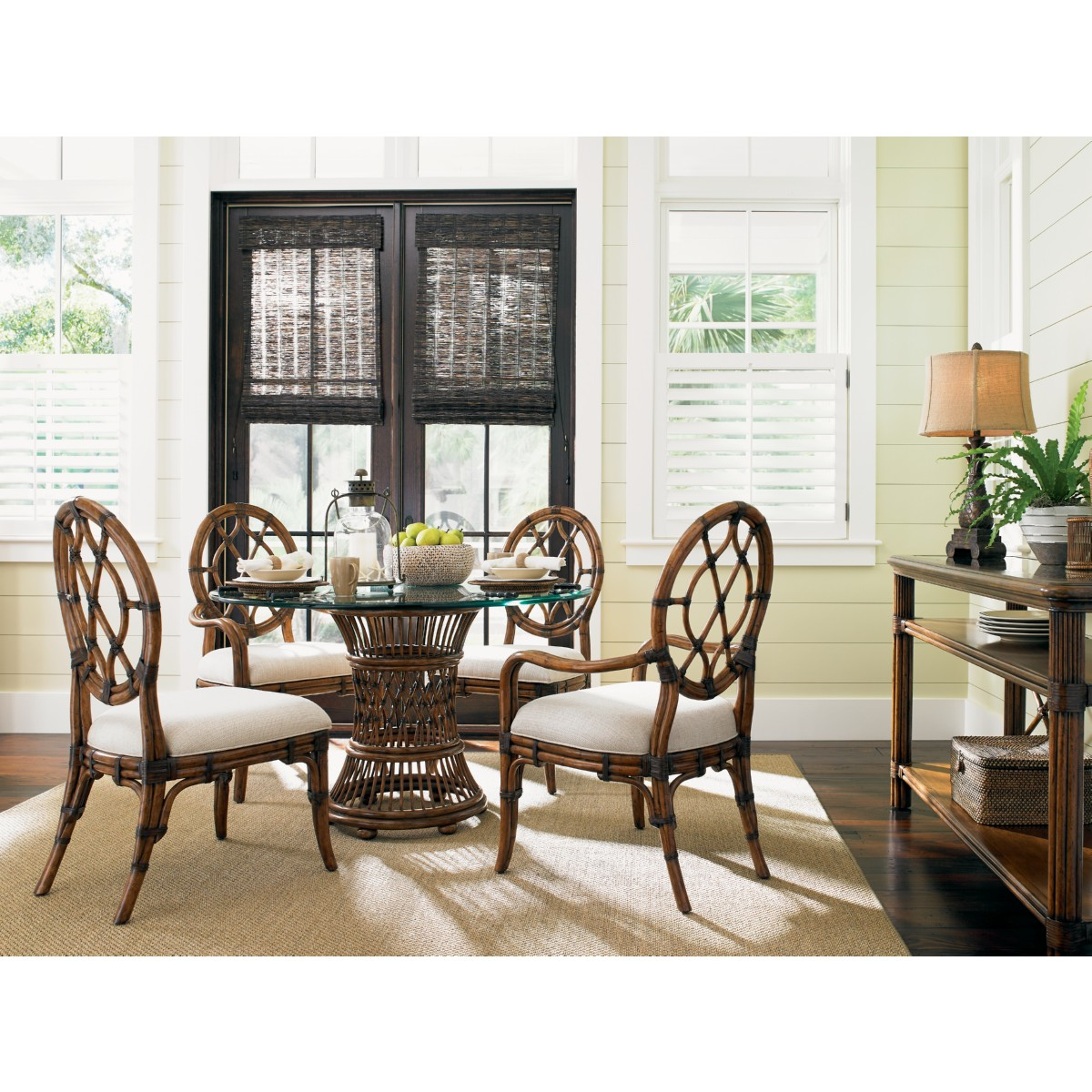 Aruba 36  Dining Table w  Leather Wrapped Rattan Base   Glass Top. Tommy Bahama Home 593 870 001 036GT Aruba 36  Dining Table w
