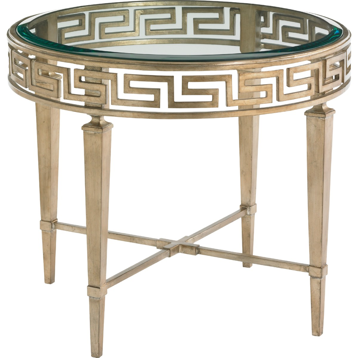 Lexington 706 951 Aston Round Lamp Table W Greek Key Trim
