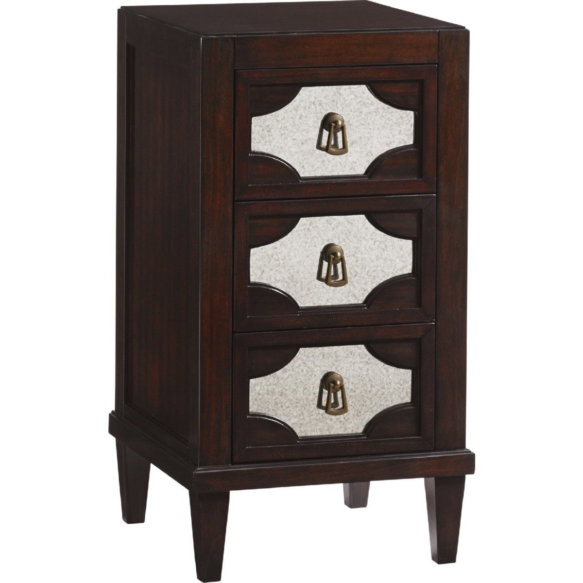 Lucerne Mirrored Nightstand In Ribbon Stripe Mahogany W Antique Mirror Fronts By Lexington Furniture