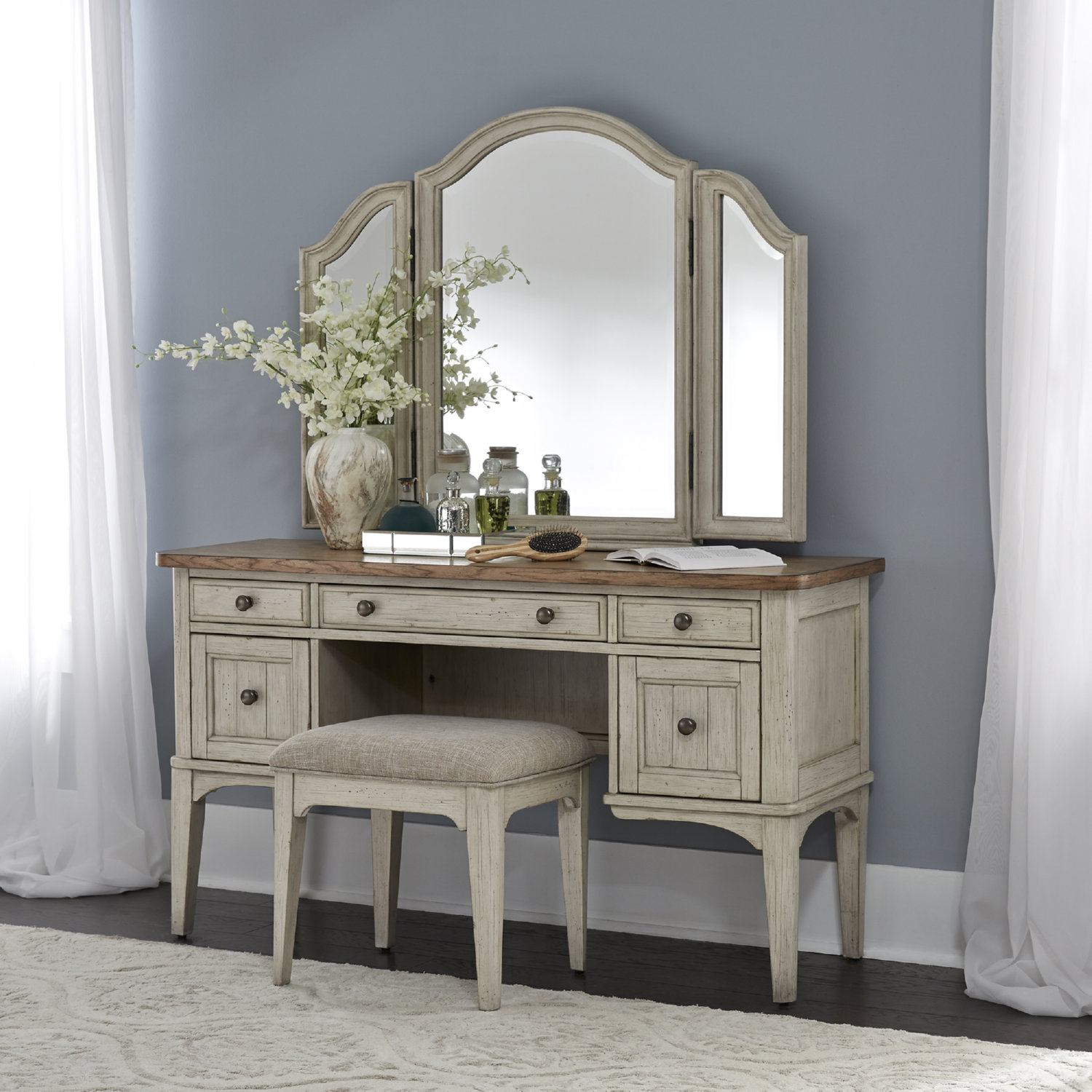 Image of: Liberty 652 Br Vn Farmhouse Reimagined Bedroom Vanity Set In White Brown