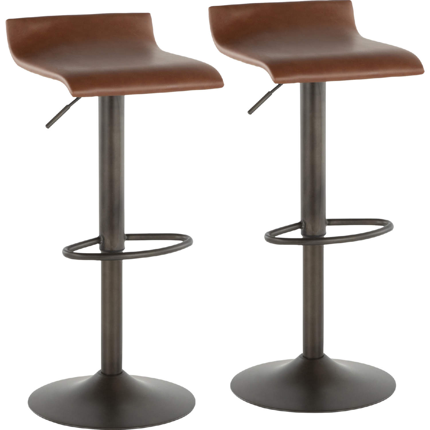 Awesome Ale Bar Stool In Antique Metal Brown Leatherette Set Of 2 By Lumisource Alphanode Cool Chair Designs And Ideas Alphanodeonline