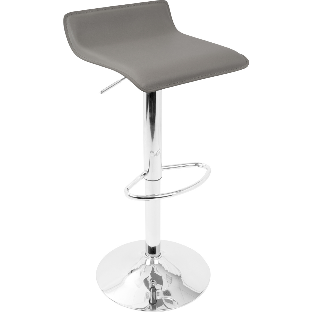 Superb Ale Contemporary Adjustable Bar Stool In Grey Leatherette Set Of 2 By Lumisource Alphanode Cool Chair Designs And Ideas Alphanodeonline
