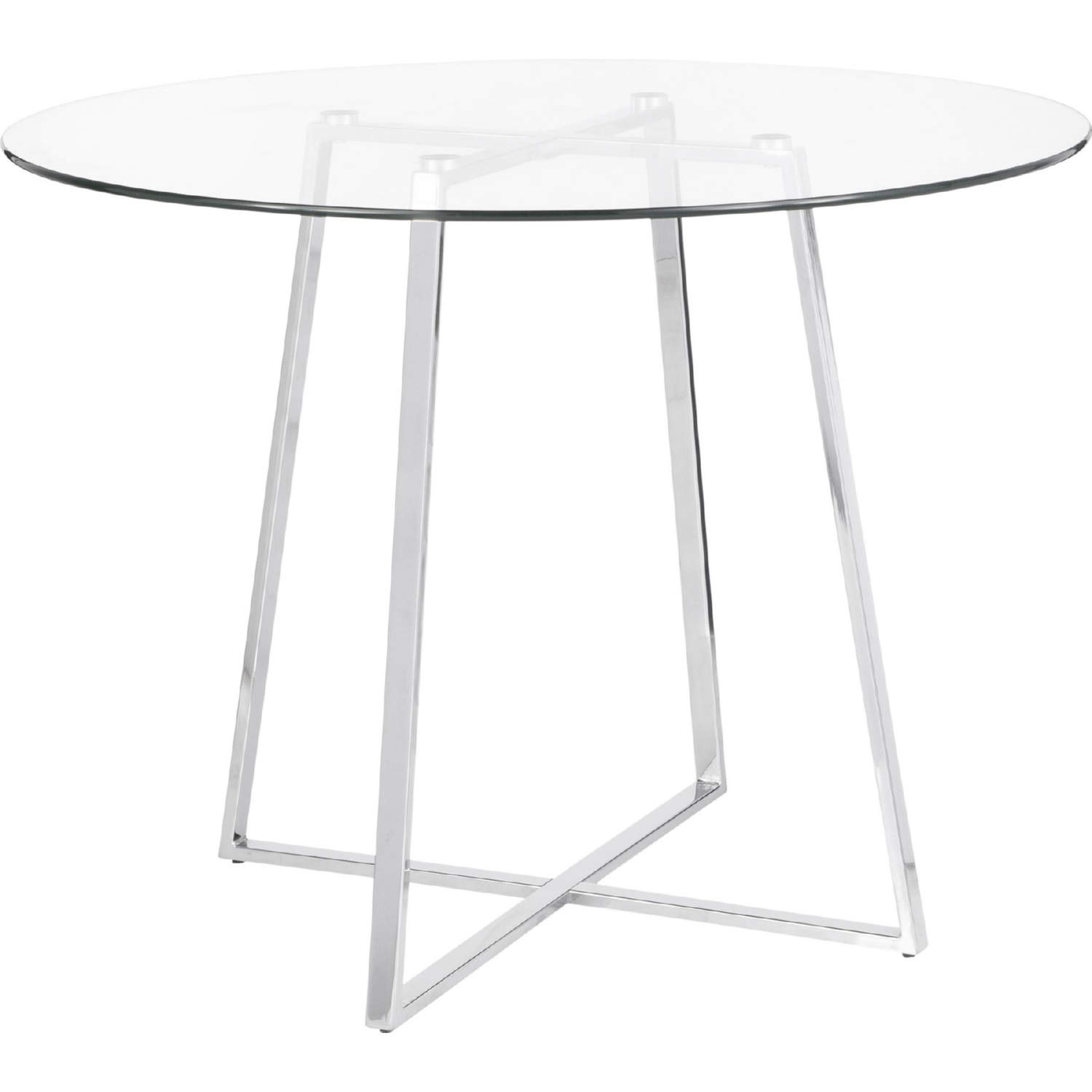 Cosmo Dining Table In Chrome Tempered Gl Top By Lumisource