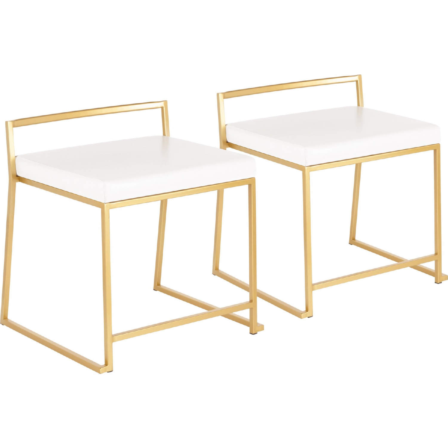 Fuji Stackable Dining Chair In Gold Metal White Leatherette Set Of 2 By Lumisource