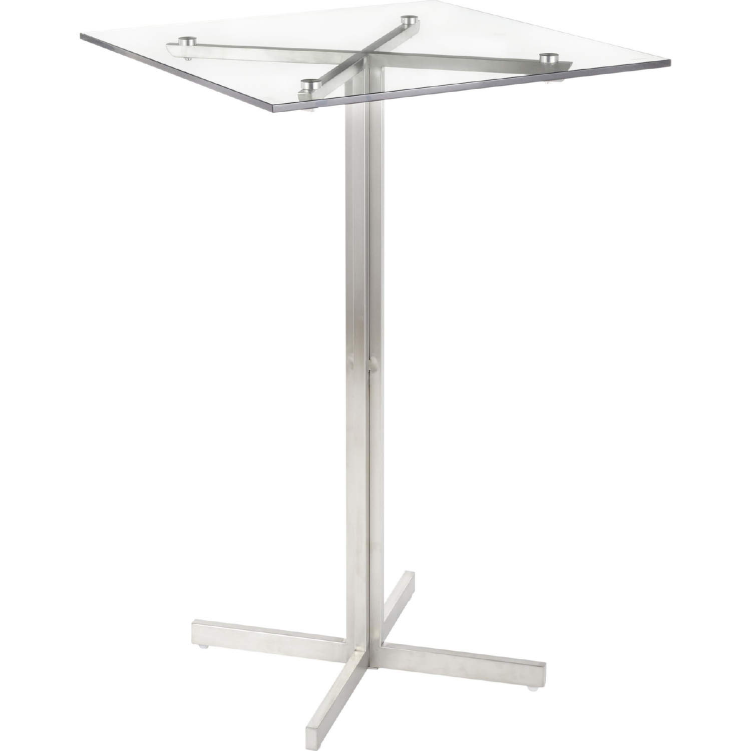 Fuji Square Bar Table In Stainless Steel W Clear Gl Top By Lumisource