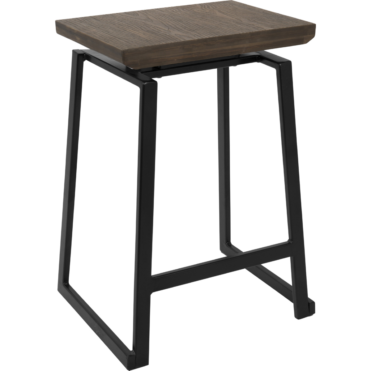 official photos 2be52 6ae51 Geo Industrial Counter Stool in Brown Wood on Black Metal (Set of 2) by  Lumisource