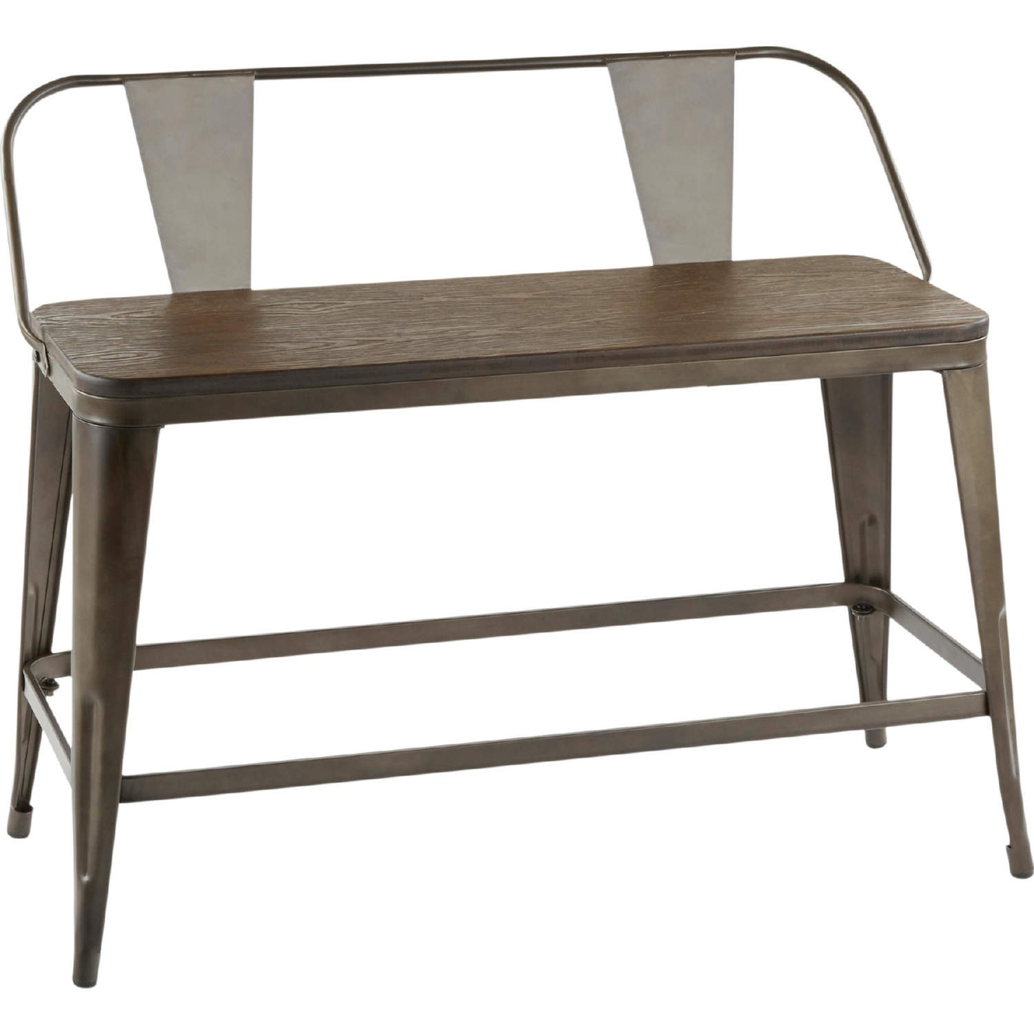 Marvelous Oregon Counter Dining Bench In Antique Metal Espresso Grain Bamboo By Lumisource Bralicious Painted Fabric Chair Ideas Braliciousco
