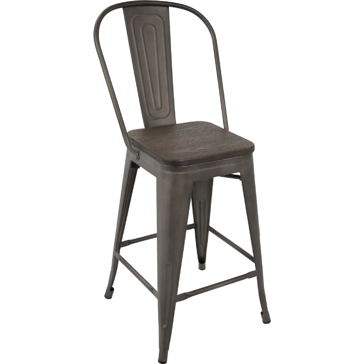 Pleasant Oregon High Back Counter Stool In Antique Metal Espresso Bamboo Set Of 2 By Lumisource Short Links Chair Design For Home Short Linksinfo