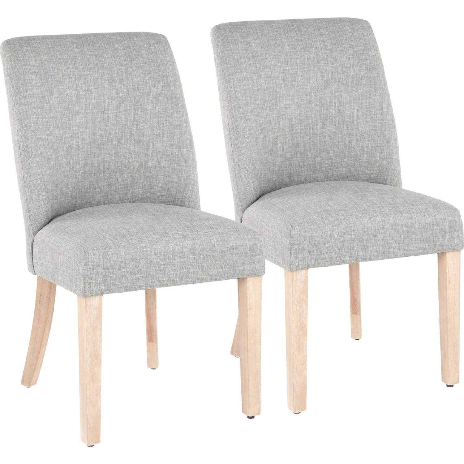 Tori Dining Chair In White Washed Wood Legs Green Grey Fabric Set Of 2 By Lumisource