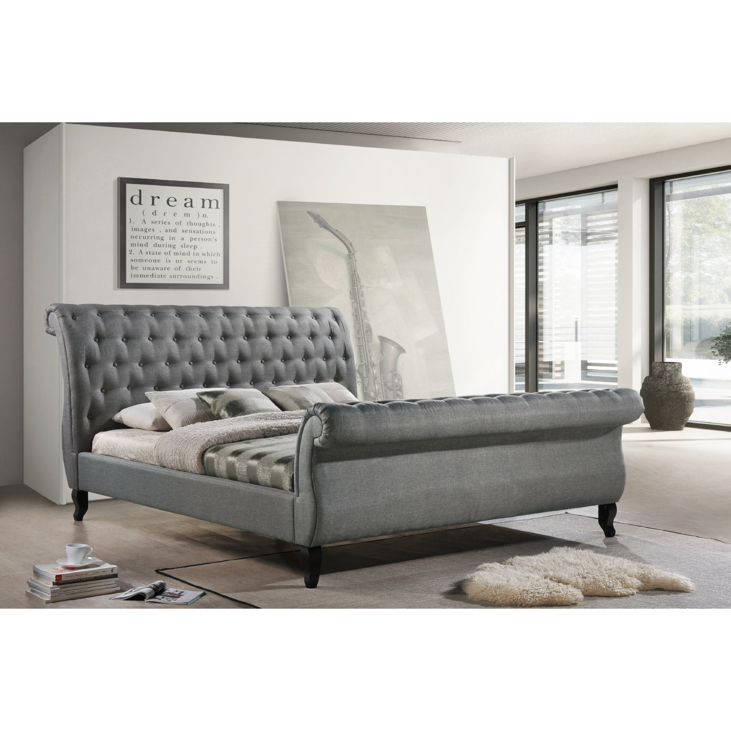 luxeo home furnishings nottingham king diamond tufted sleigh upholstered platform sleigh bed in gray fabric