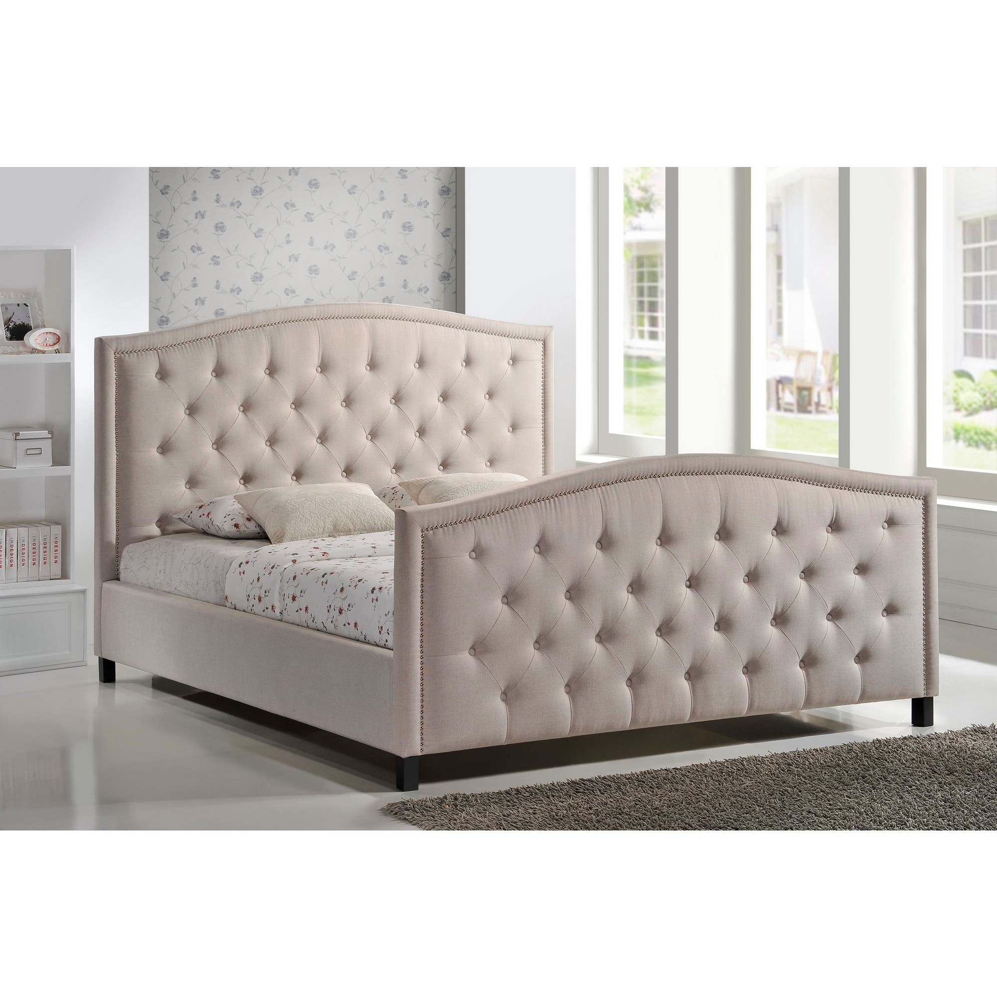 luxeo home furnishings camden king diamond tufted upholstered bed in palazzo mist fabric