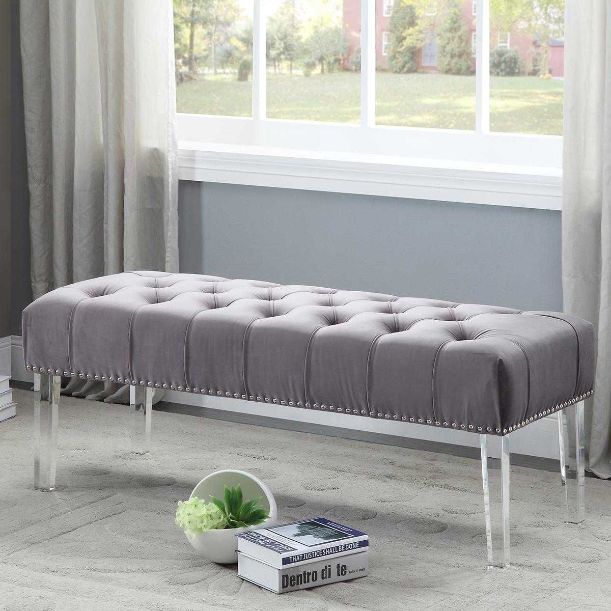 Celine Grey Tufted Velvet Bench W Nailhead Trim On Acrylic Legs By Meridian Furniture