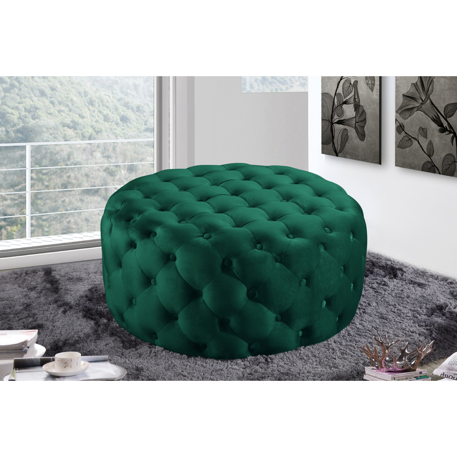 Stupendous Addison Round Ottoman Bench In Tufted Green Velvet By Meridian Furniture Bralicious Painted Fabric Chair Ideas Braliciousco
