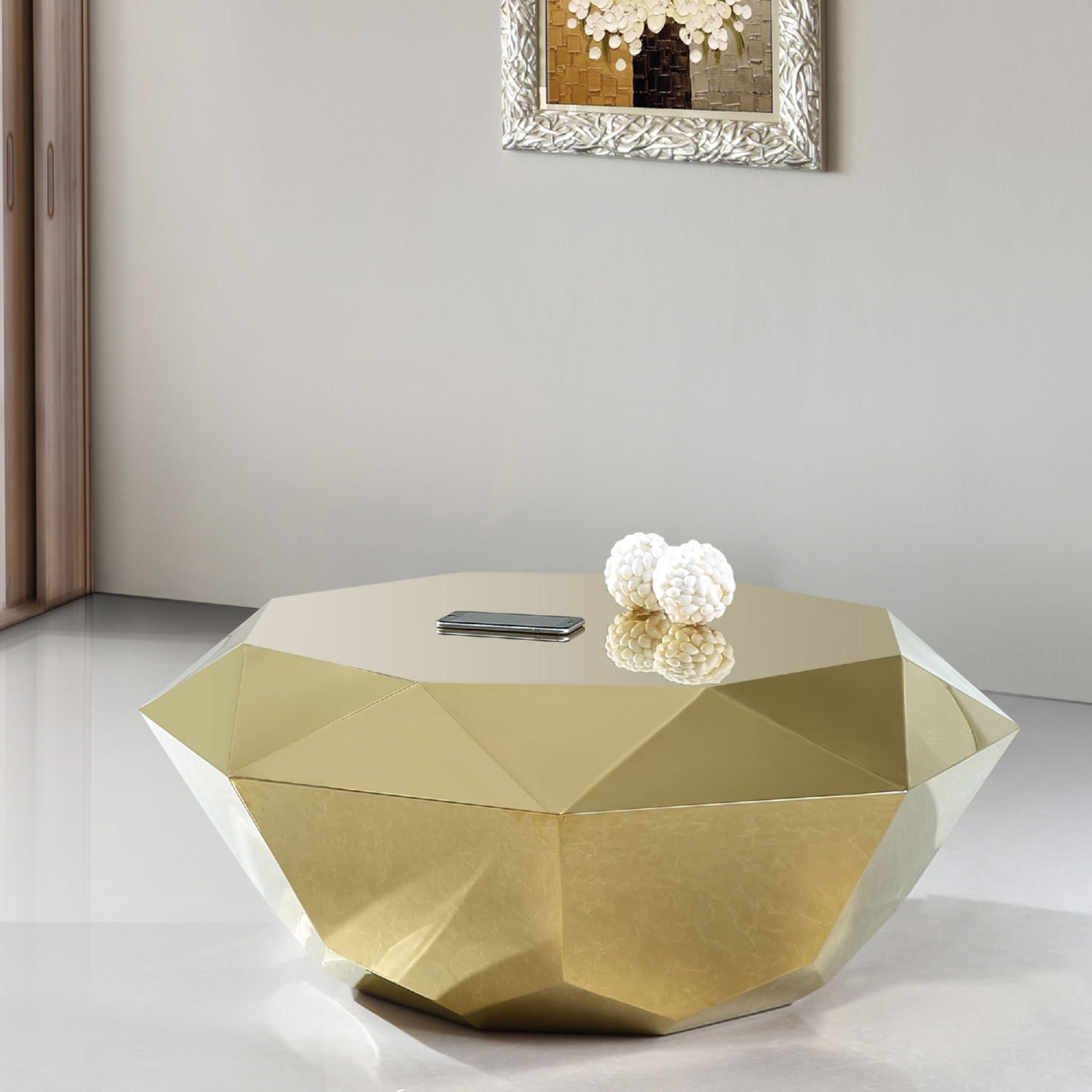 Meridian Furniture 222Gold C Gemma Gold Diamond Shape Coffee Table