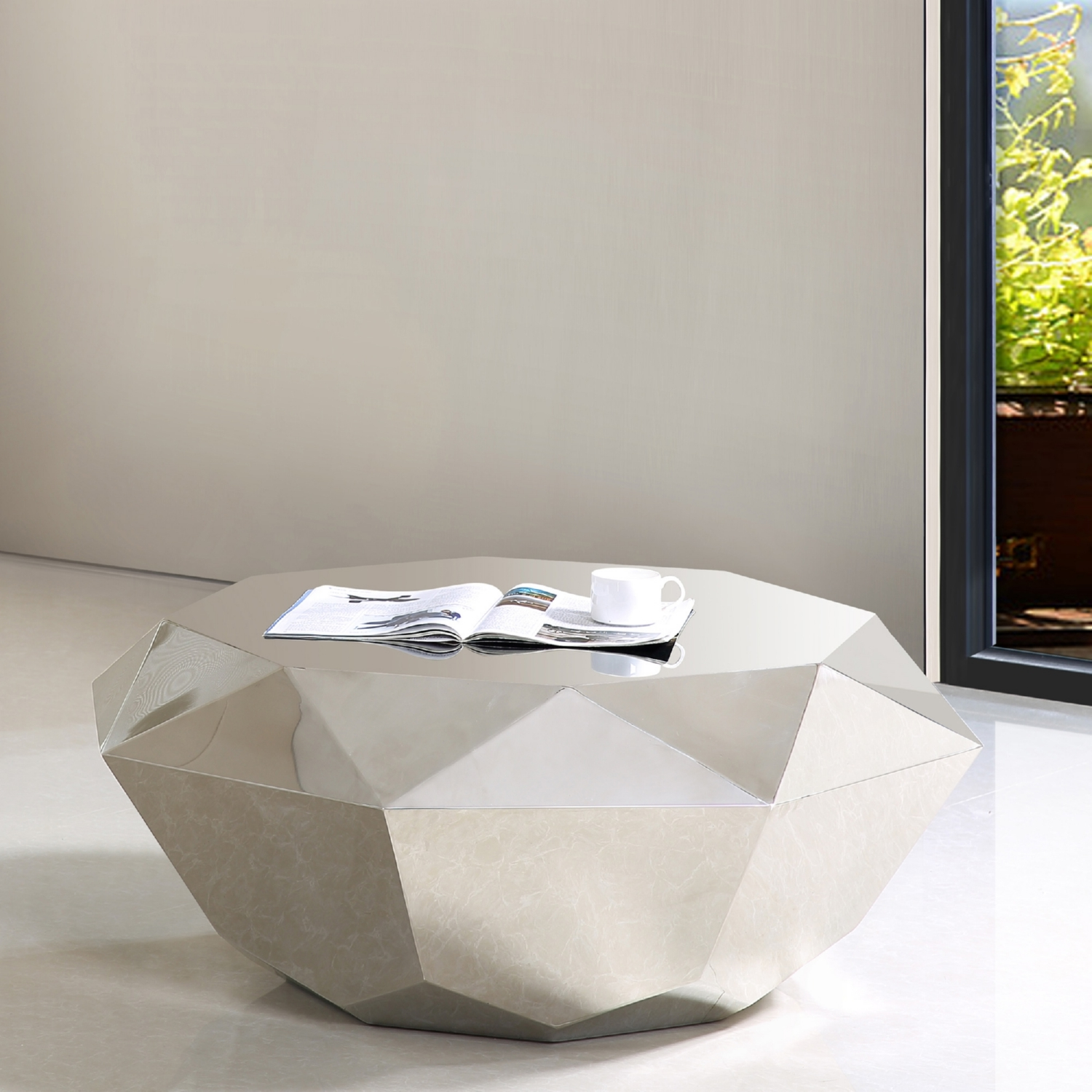 Attrayant Meridian Furniture Gemma Silver Diamond Shape Coffee Table In Stainless  Steel