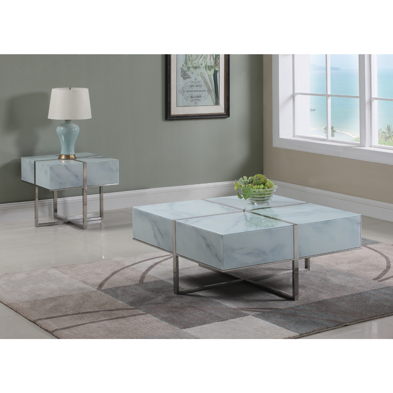 Meridian Furniture 224 C Logan Coffee Table in Glass Marble Look