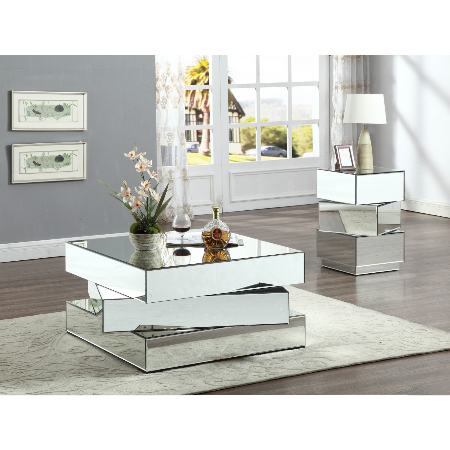Meridian Furniture 228-C Haven Coffee Table in Mirrored Stacked Design