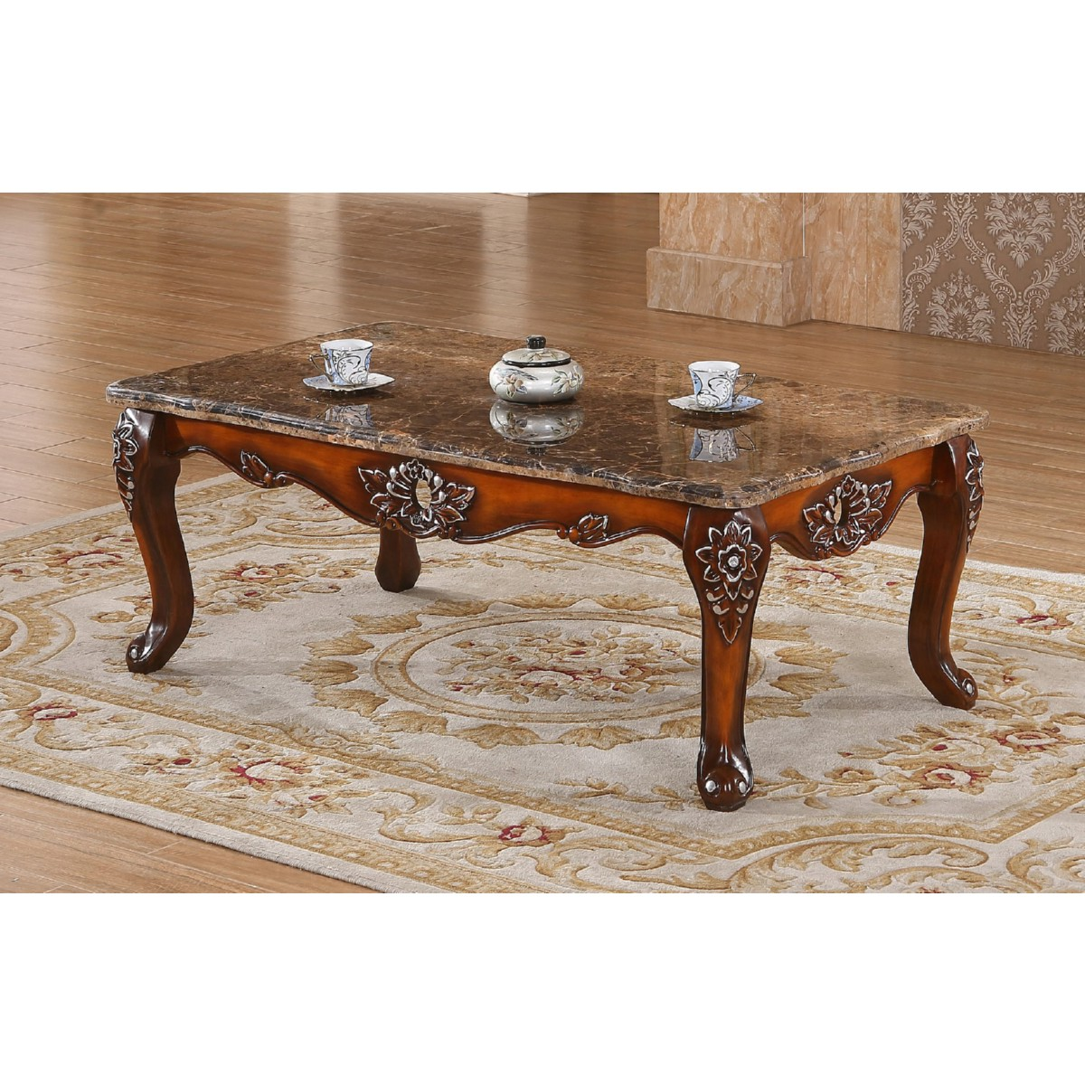 Ornate coffee table coffee table in cherry silver w ornate carving marble top geotapseo Gallery