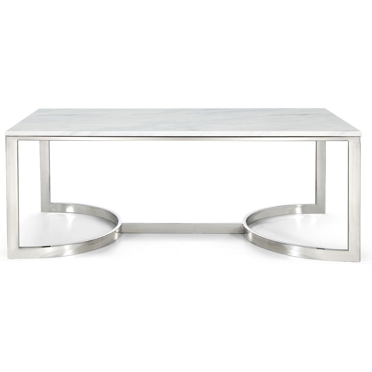 Meridian 245-C Copley Coffee Table In Chrome W/ Marble Top