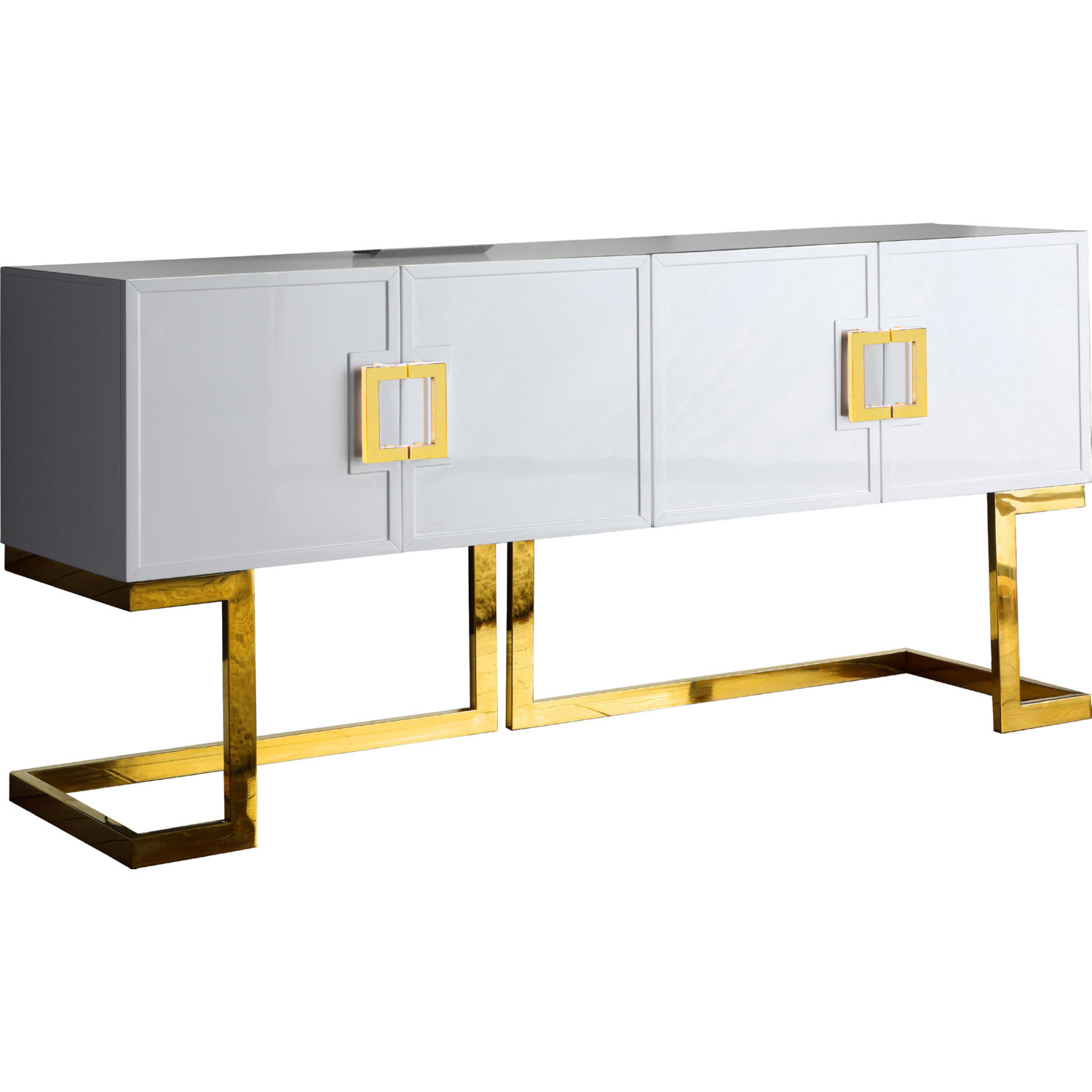 Meridian 306 Beth Sideboard Buffet In White Lacquer On Gold Base