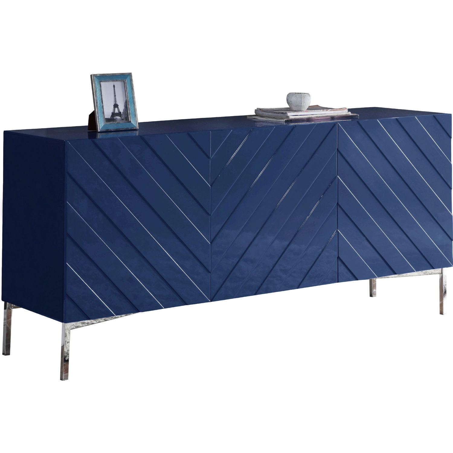 Meridian 309 Collette Sideboard Buffet in Navy Blue Lacquer on Chrome Base