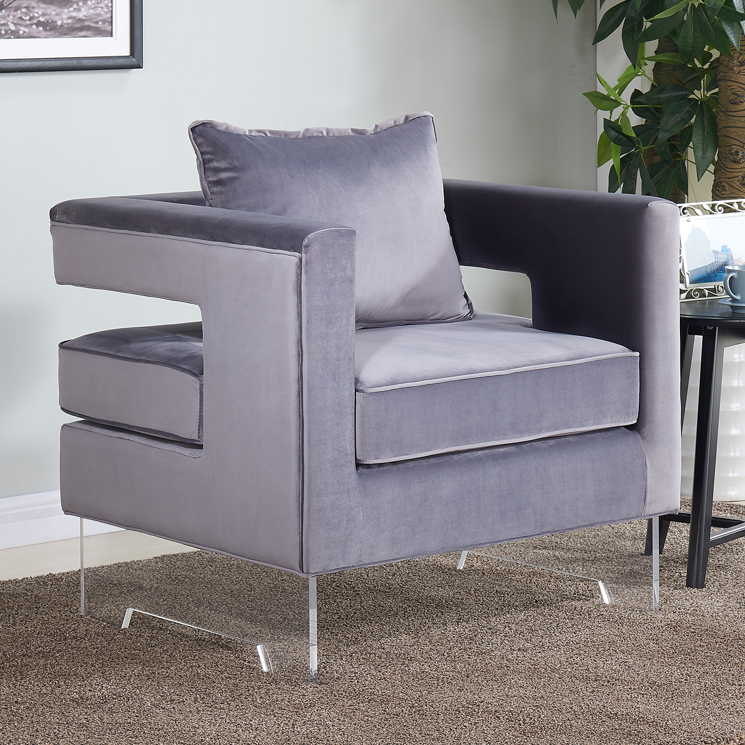 carson grey velvet accent chair w cut out back on acrylic legs