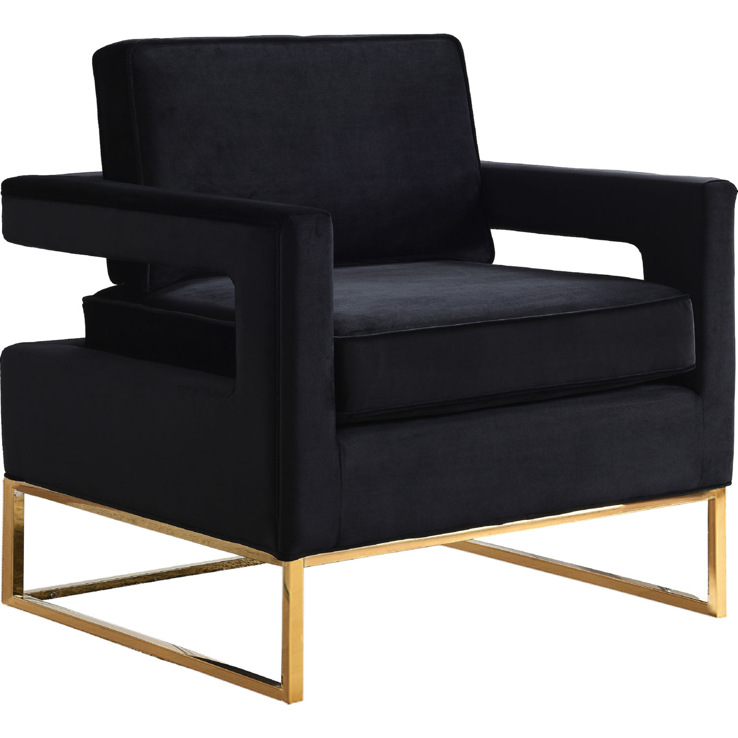 Meridian Furniture Noah Accent Chair In Black Velvet On Gold Stainless  Steel Base