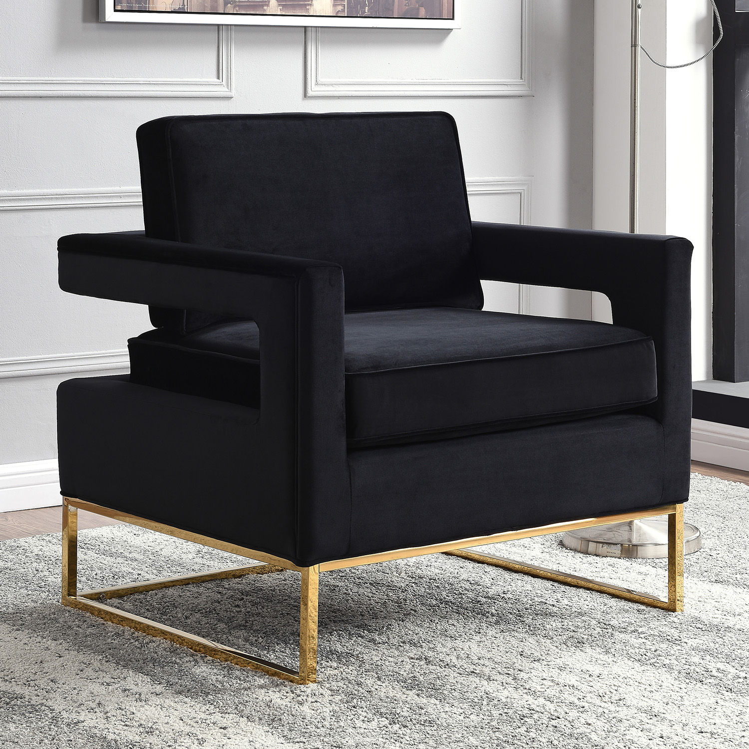 Delicieux Meridian Furniture Noah Accent Chair In Black Velvet On Gold Base. Hover To  Zoom