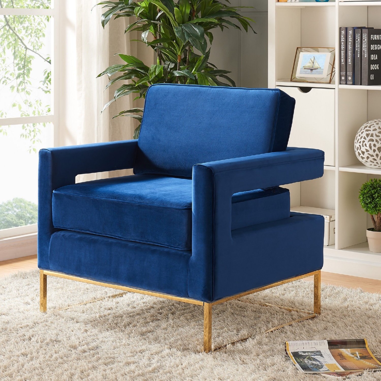 Noah Accent Chair In Navy Velvet On Gold Stainless Steel Base By Meridian Furniture