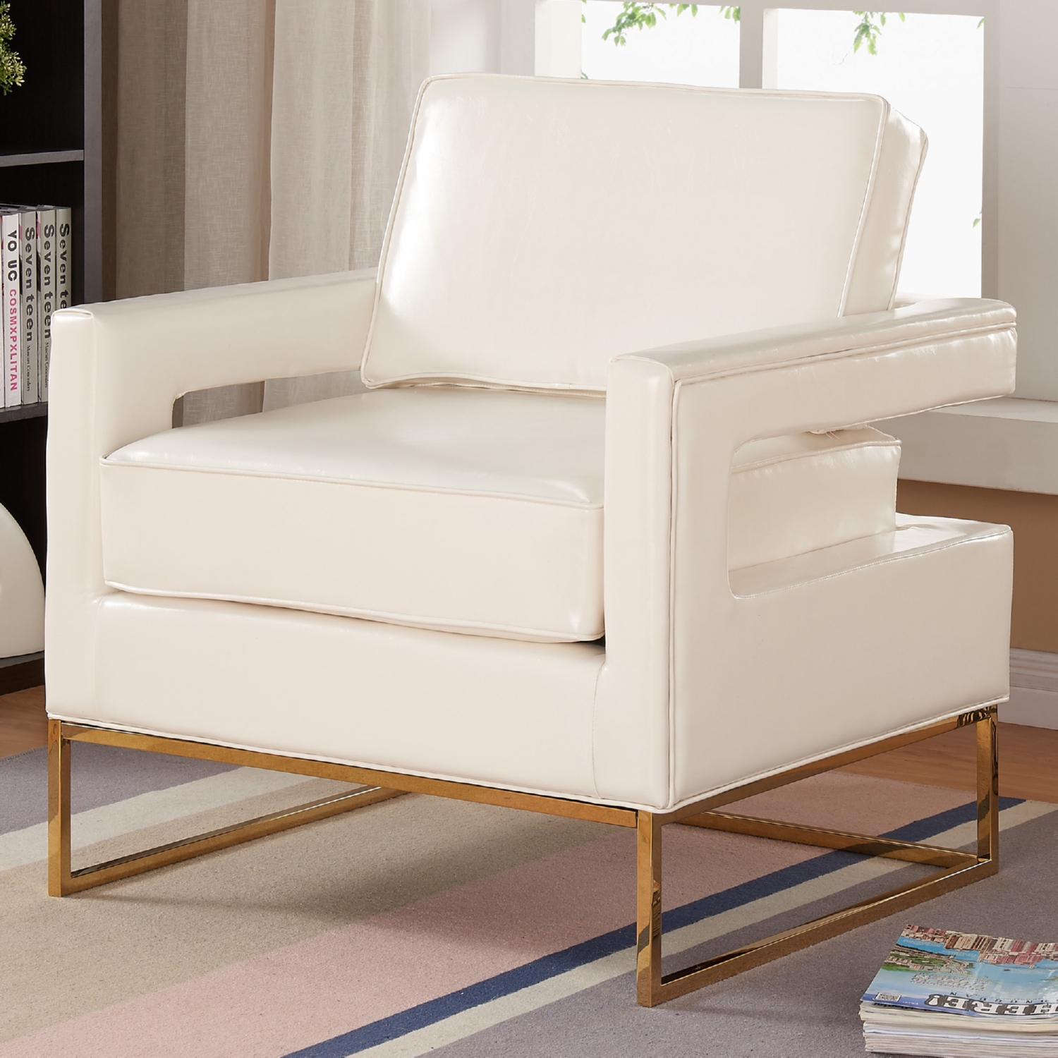 amelia white leather accent chair on rose gold stainless steel base